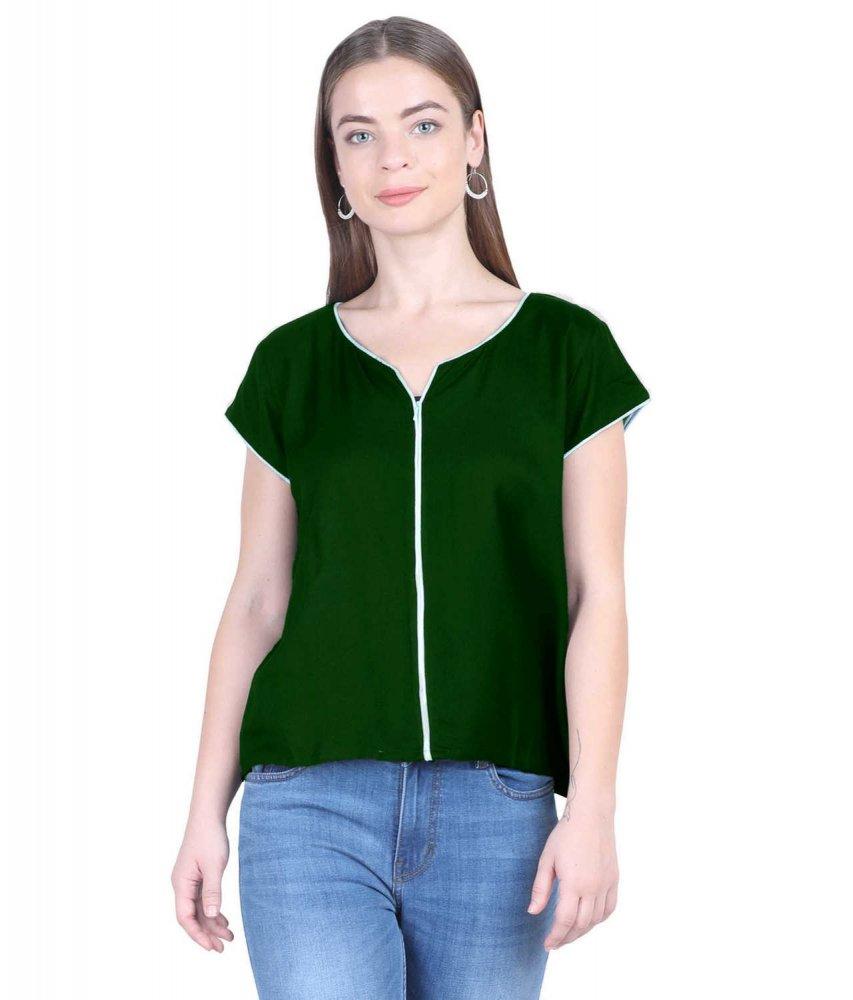 Shirt Top in Bottle Green