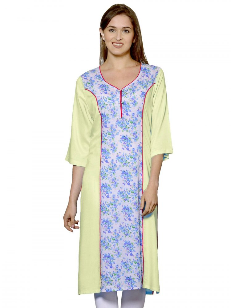 Panelled Embellished Kurti in Cream:Multicolor