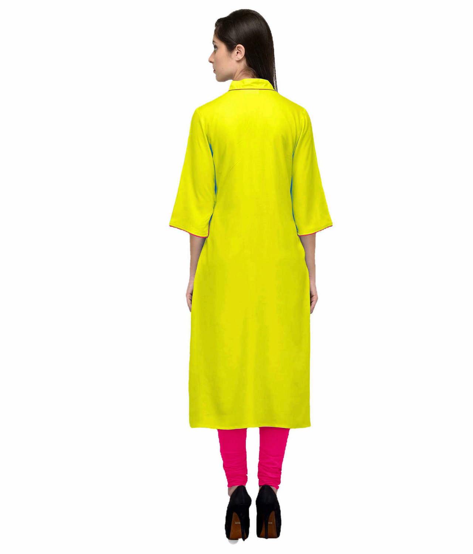A-Line Kurta Kurti in Yellow:Fuchsia