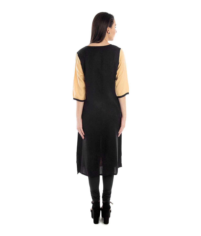 Shift Panelled Kurta Kurti in Black:Gold
