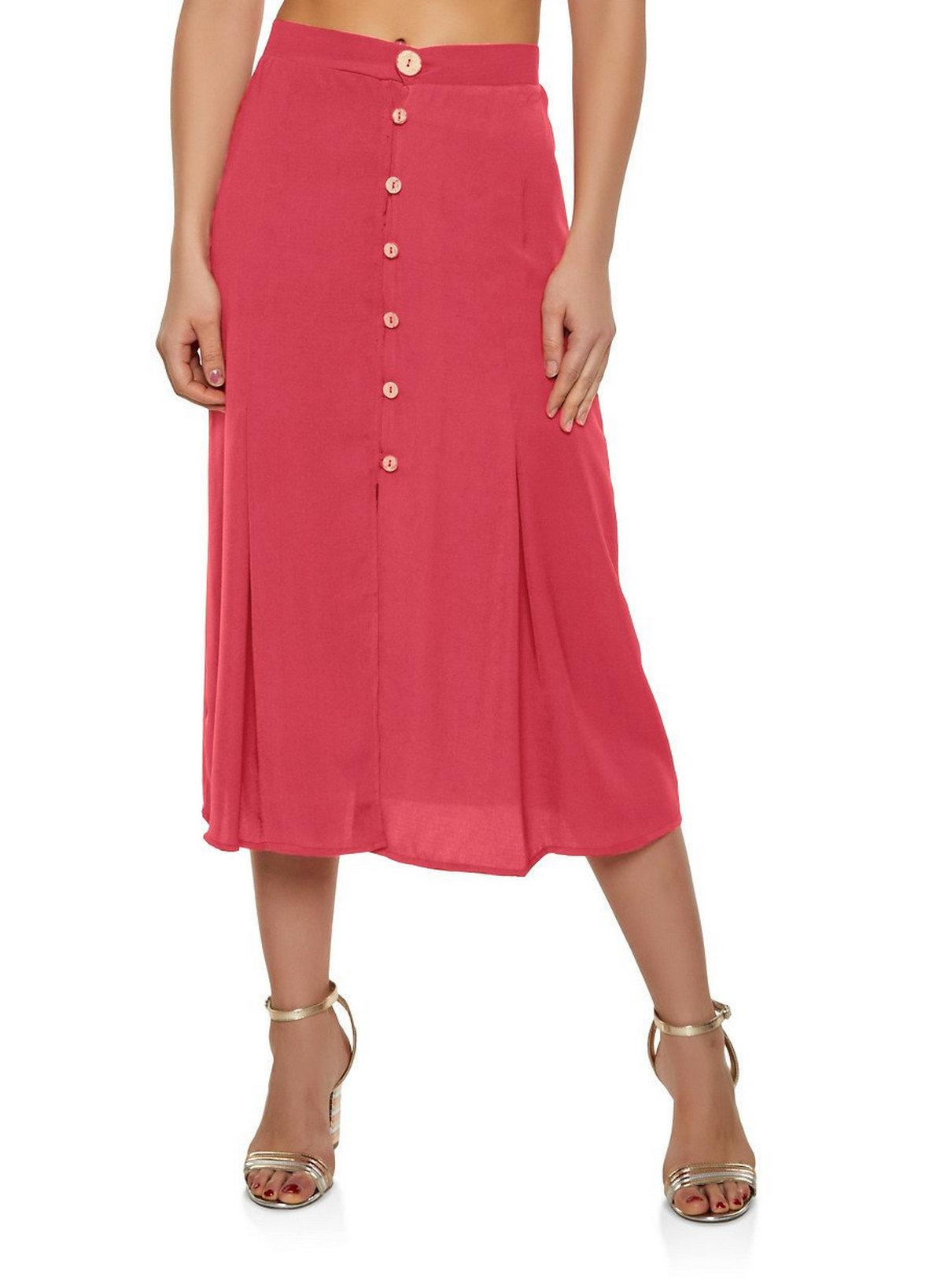 A-Line Below Knee Skirt in Vinyl Hot Pink