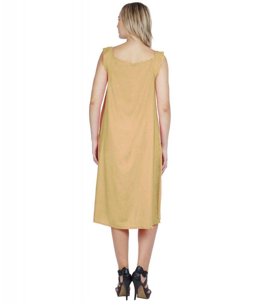 A-Line Column Midi Dress in Gold