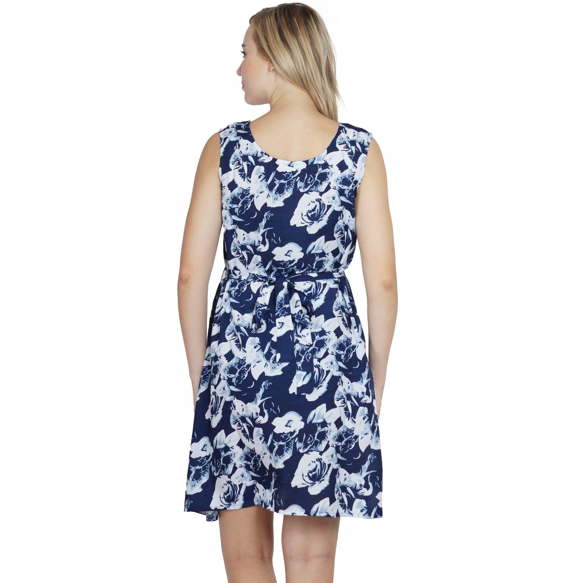 A-Line Floral Print Midi Dress in Blue Print
