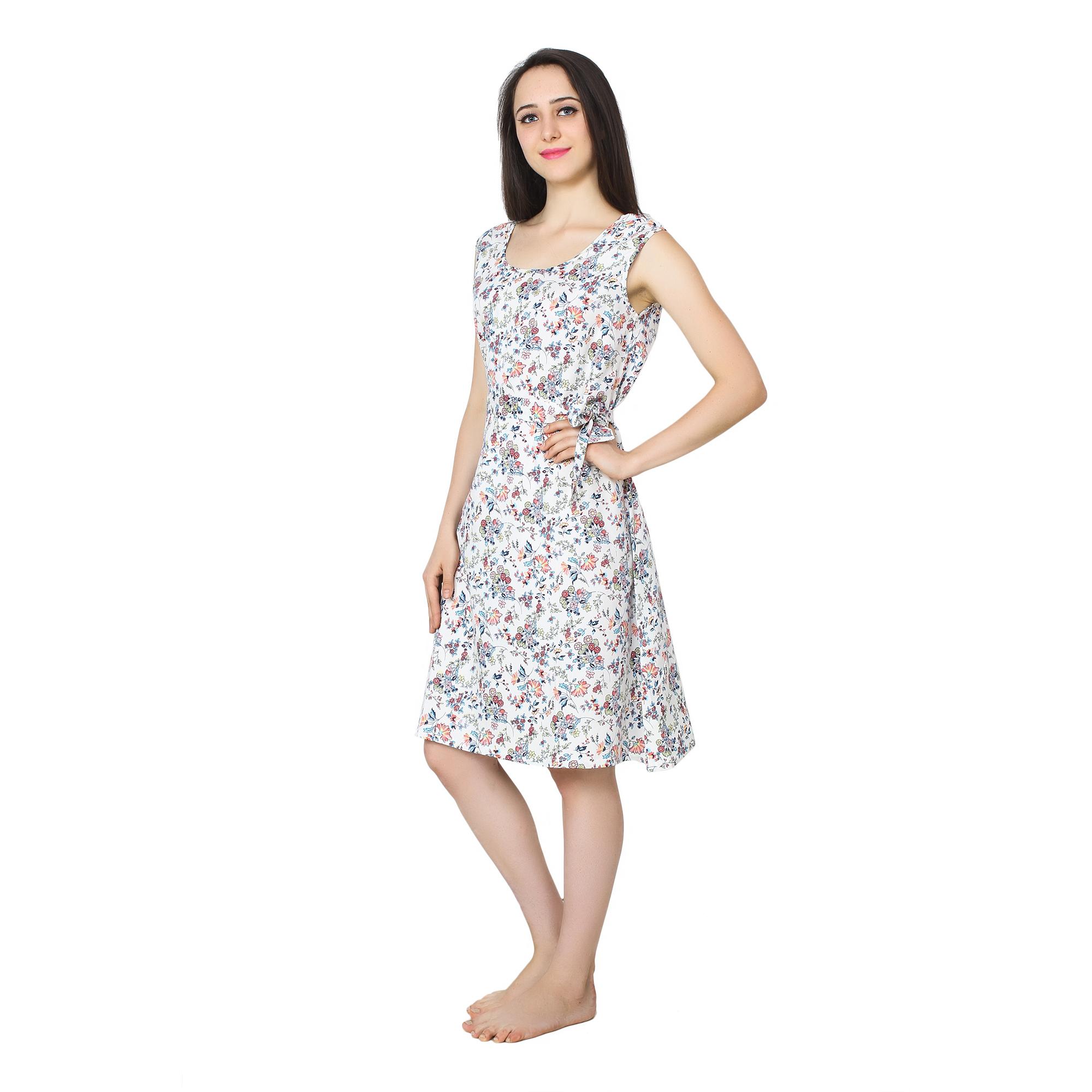 A-Line Floral Print Midi Dress in White Print