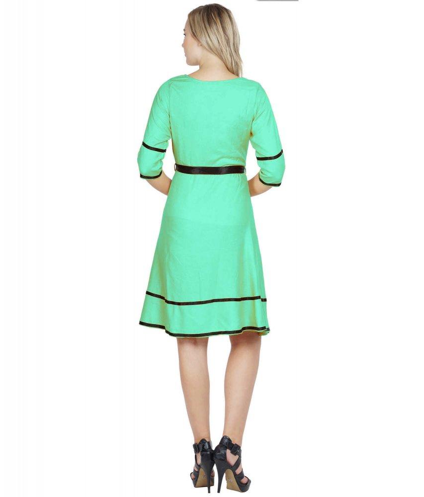 A-Line Knee Length Peplum Dress in Teal Green