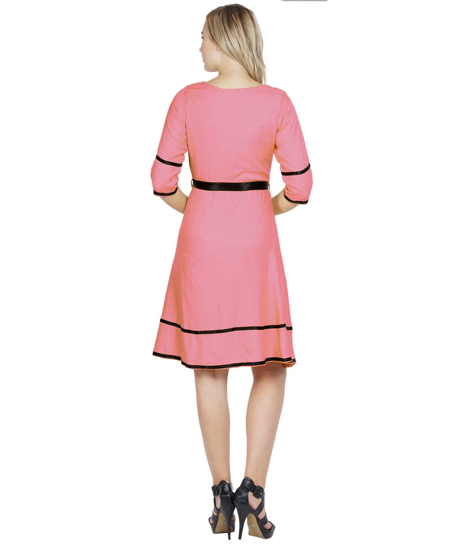 A-Line Knee Length Peplum Dress in Vinyl Hot Pink