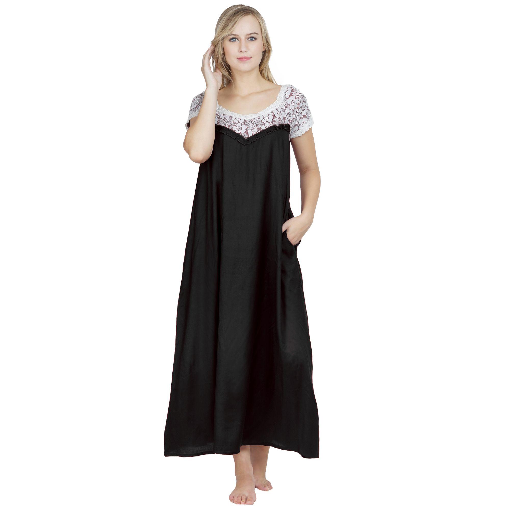 A-Line Lace Bodice Maxi Nighty in Black