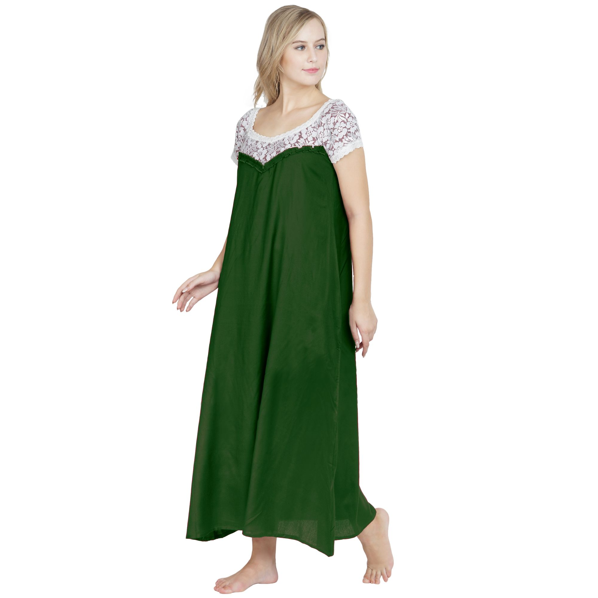 A-Line Lace Bodice Maxi Nighty in Bottle Green
