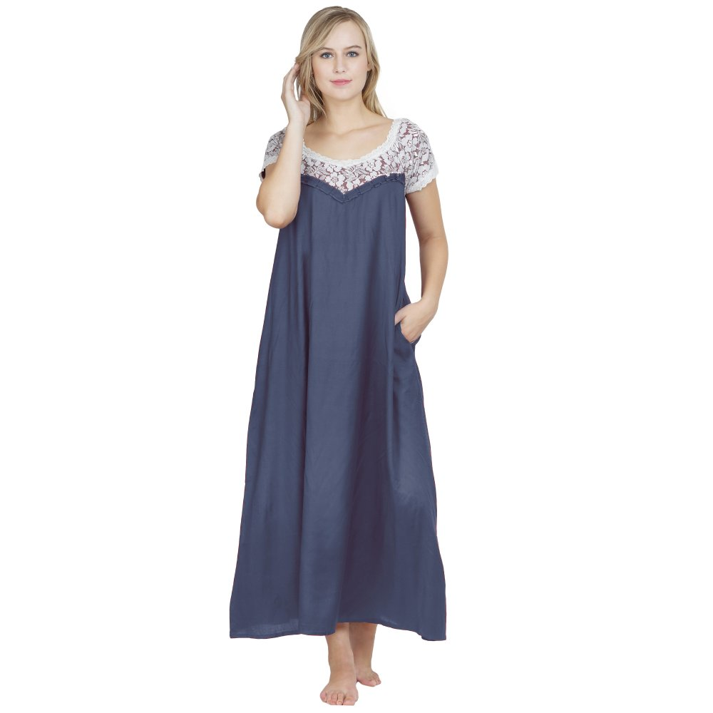 A-Line Lace Bodice Maxi Nighty in Charcoal Grey