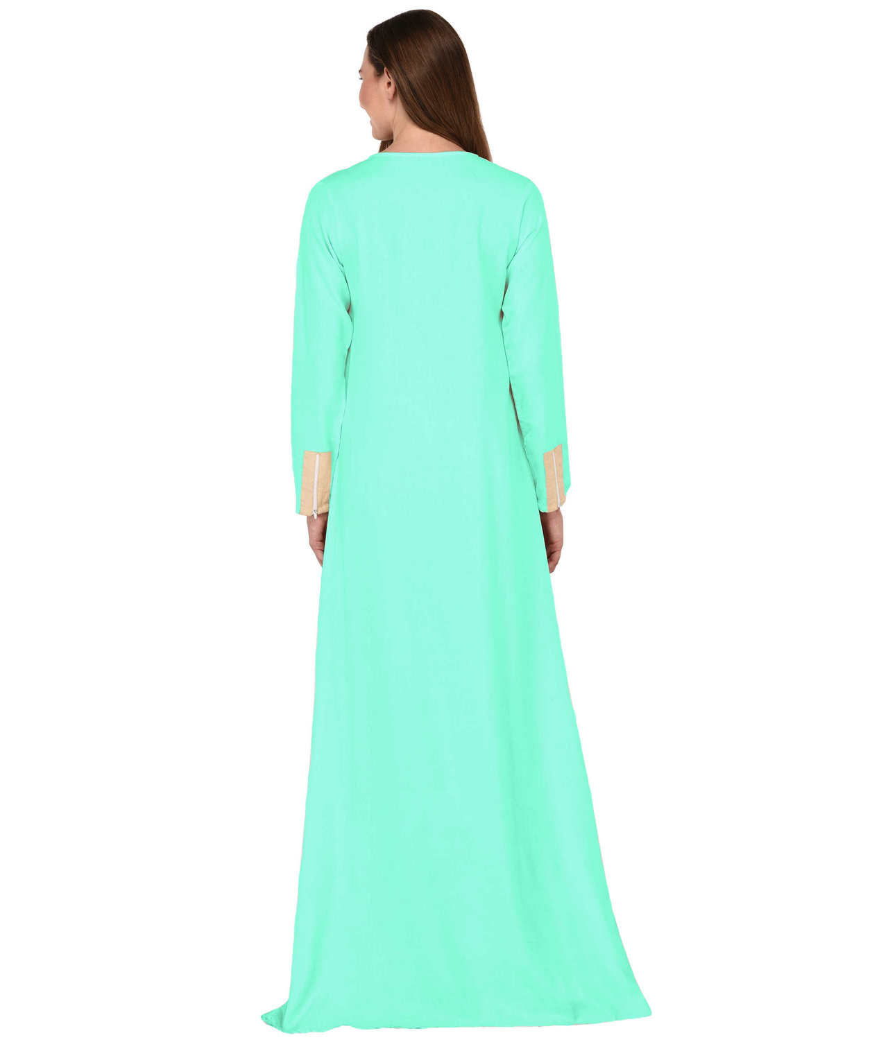 Abaya Style Empire Maxi Dress in Teal Green