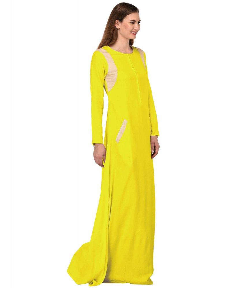 Abaya Style Empire Maxi Dress in Yellow