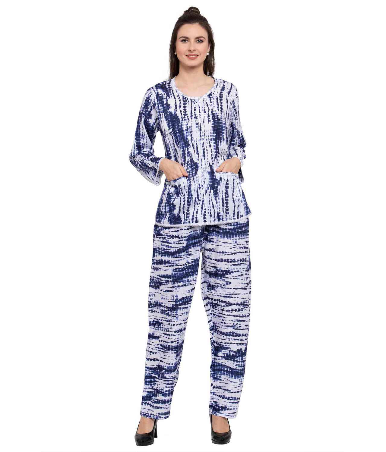 Abstract Print Night Top and Pyjama Set in Blue