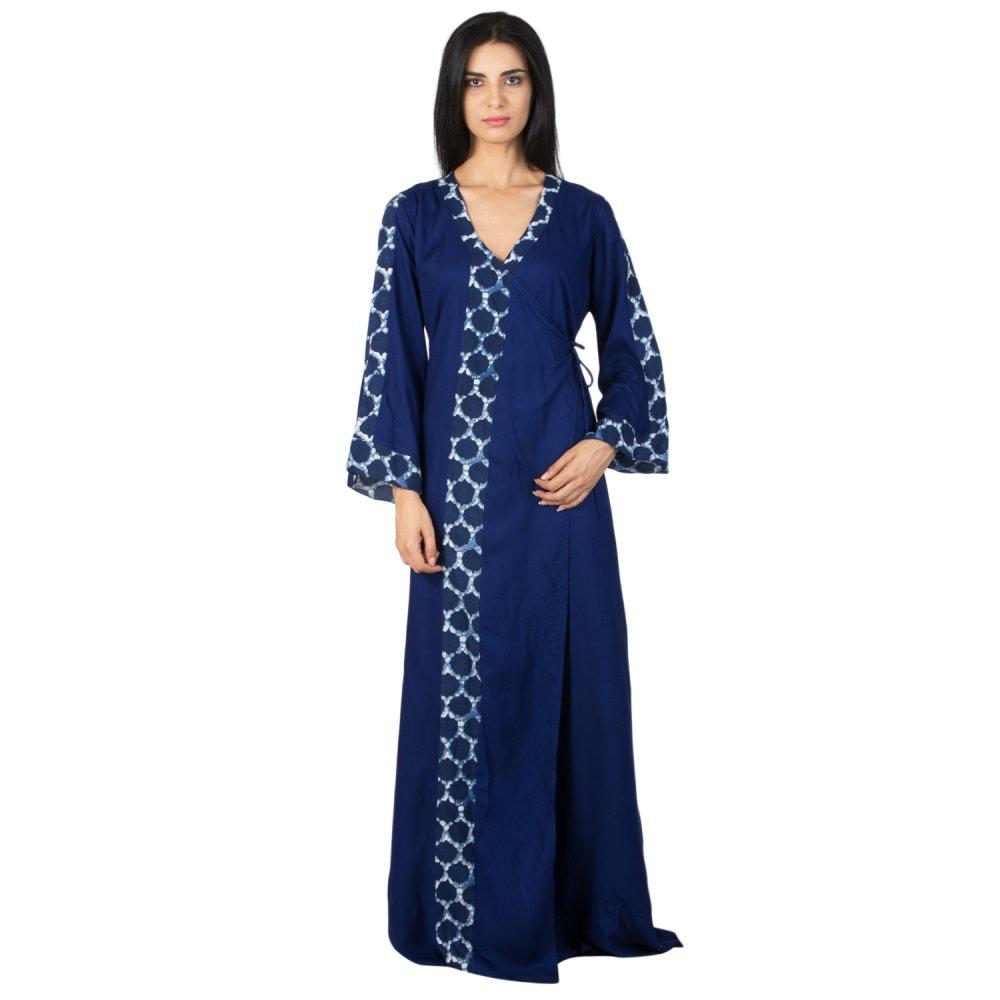 Anghrakha Style Wrap Maxi Nighty in Royal Blue