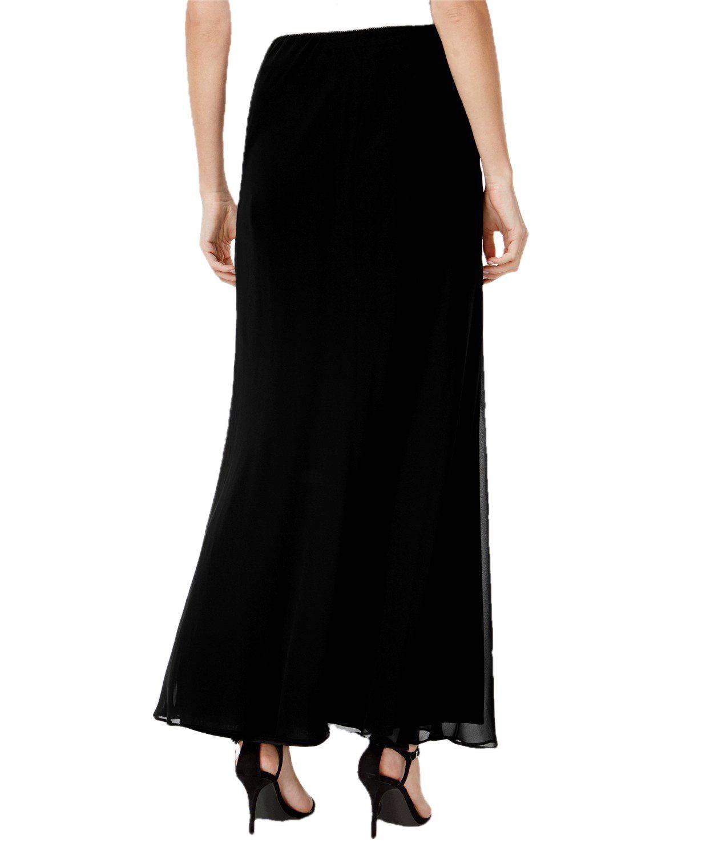 Ankle Length Flared Skirt in Black