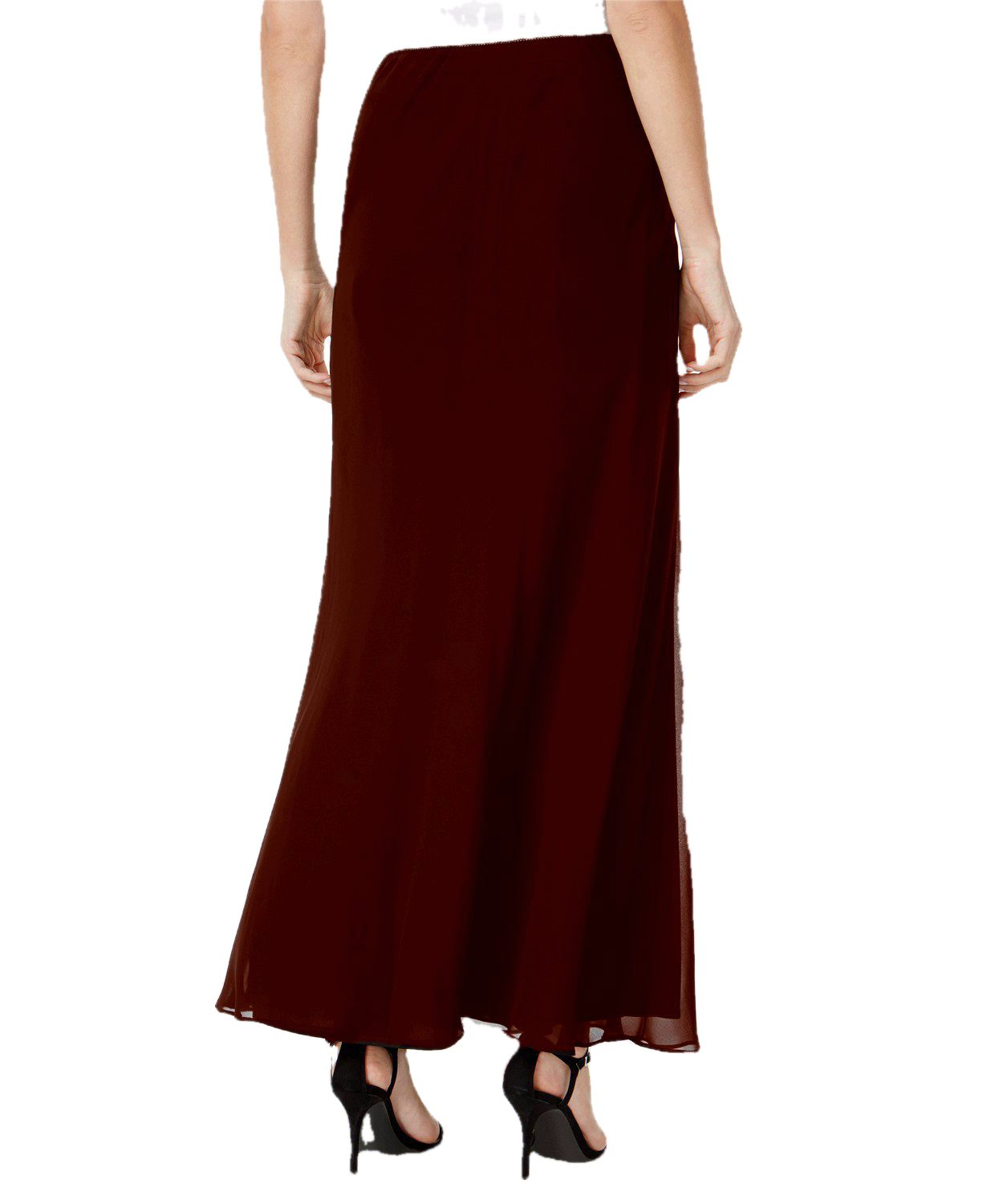 Ankle Length Flared Skirt in Maroon