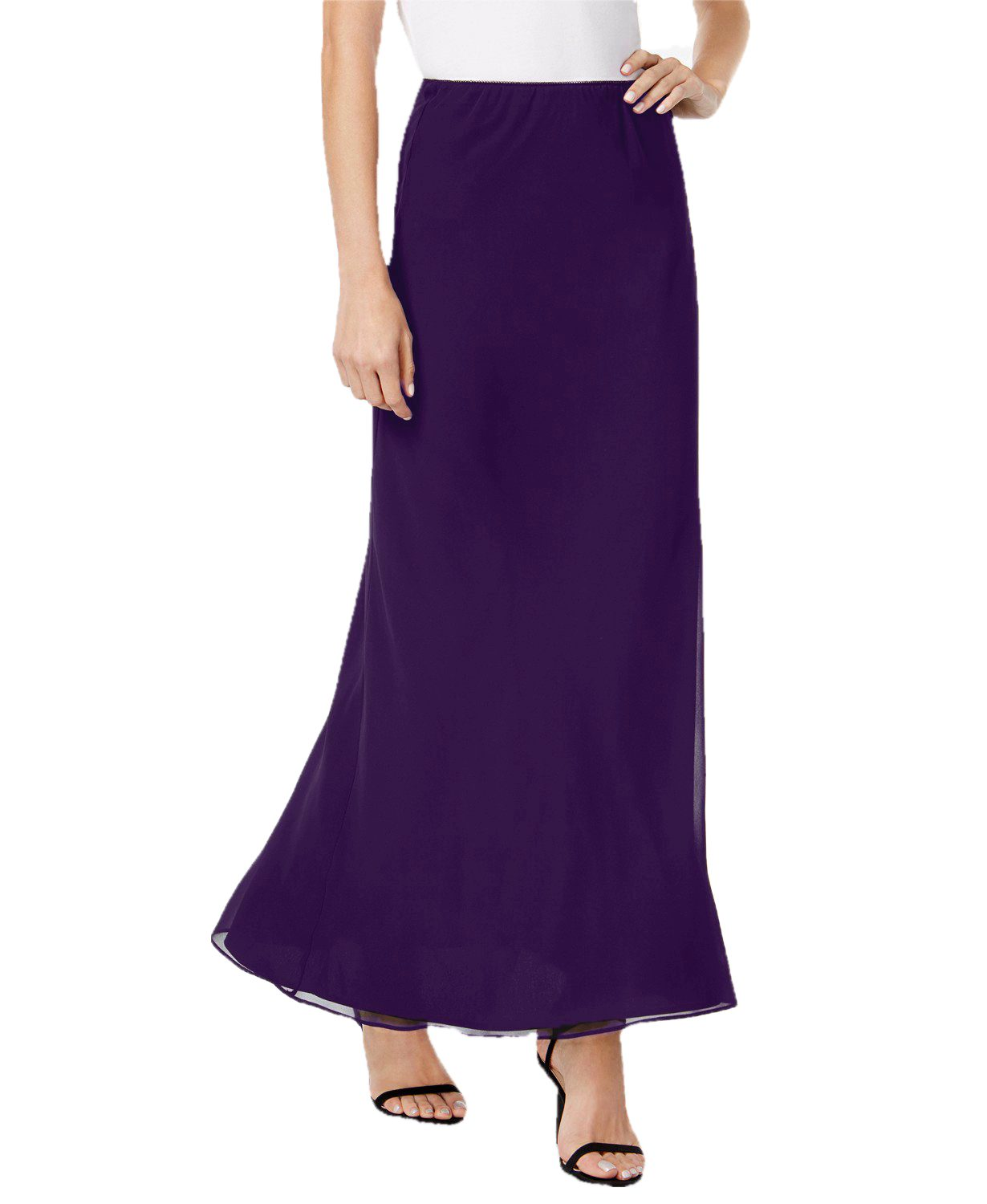 Ankle Length Flared Skirt in Purple