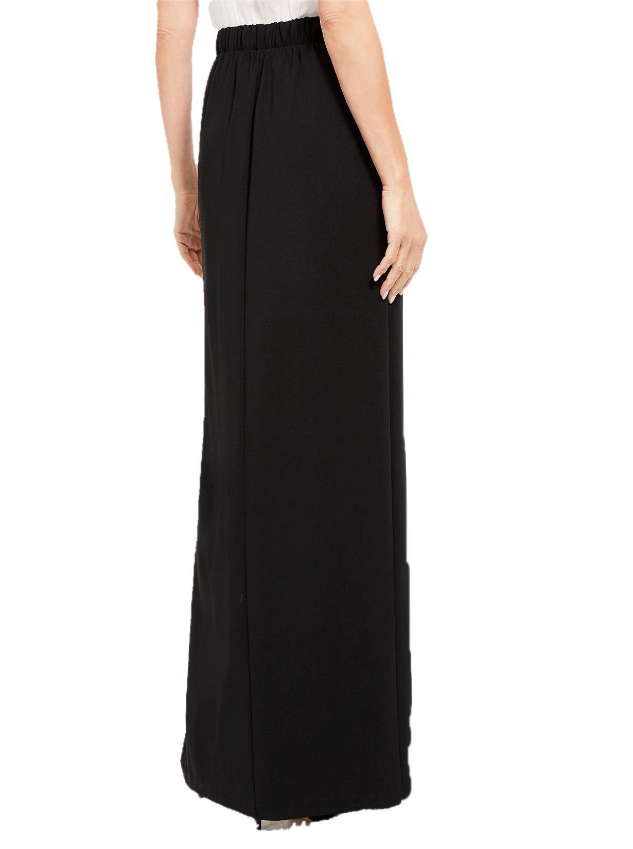 Ankle Length Side Slit Pencil Skirt in Black