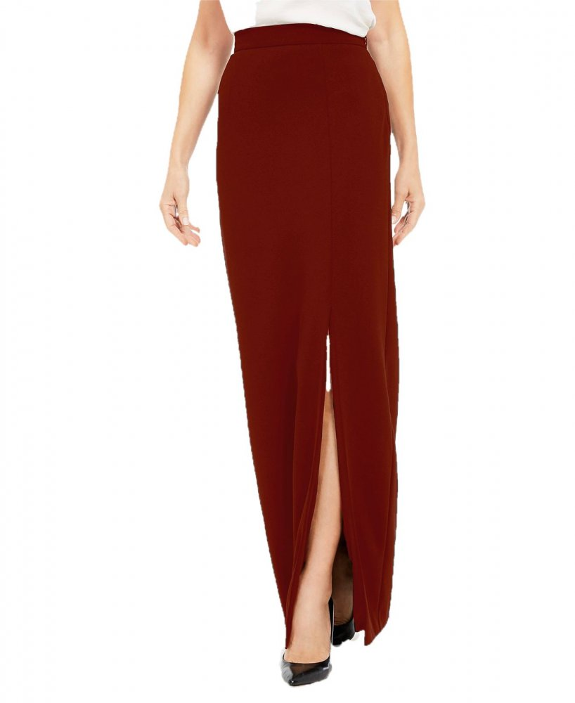 Ankle Length Side Slit Pencil Skirt in Maroon