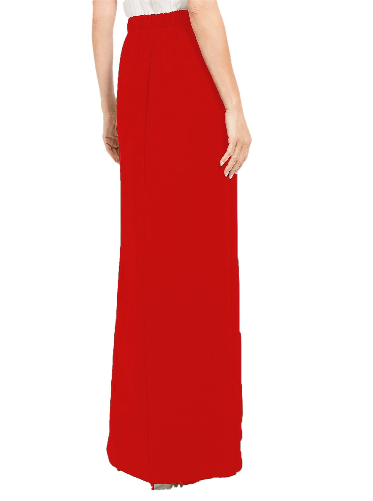 Ankle Length Side Slit Pencil Skirt in Red