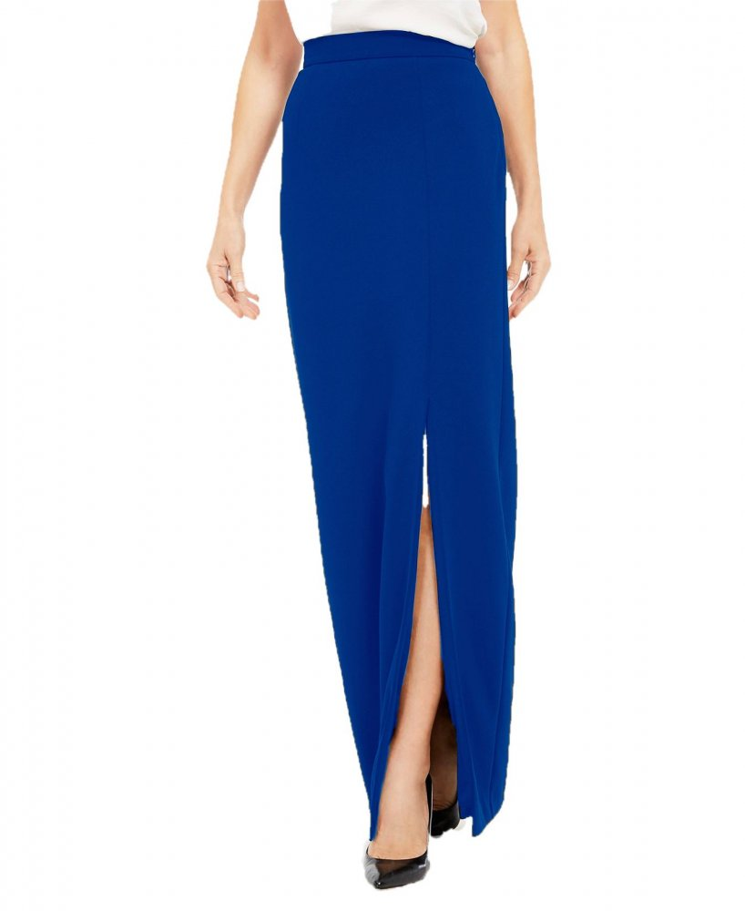 Ankle Length Side Slit Pencil Skirt in Turquoise Blue