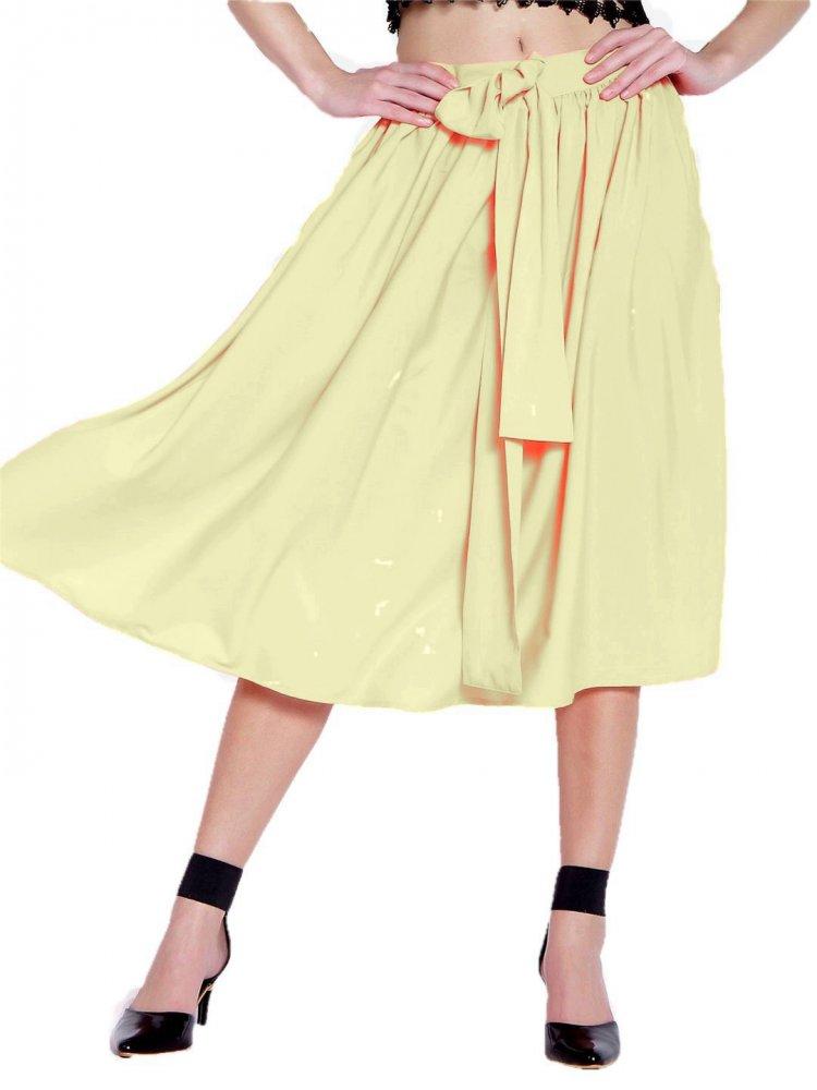 Below Knee Pleated Frill Skirt in Beige