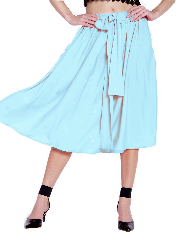 Below Knee Pleated Frill Skirt in Light Blue