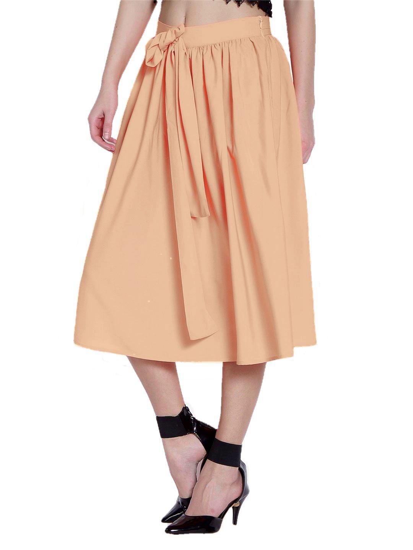 Below Knee Pleated Frill Skirt in Peach