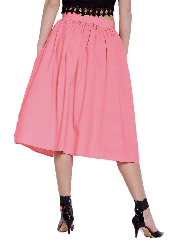 Below Knee Pleated Frill Skirt in Vinyl Hot Pink