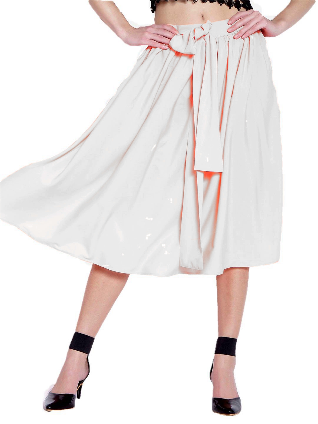 Below Knee Pleated Frill Skirt in White