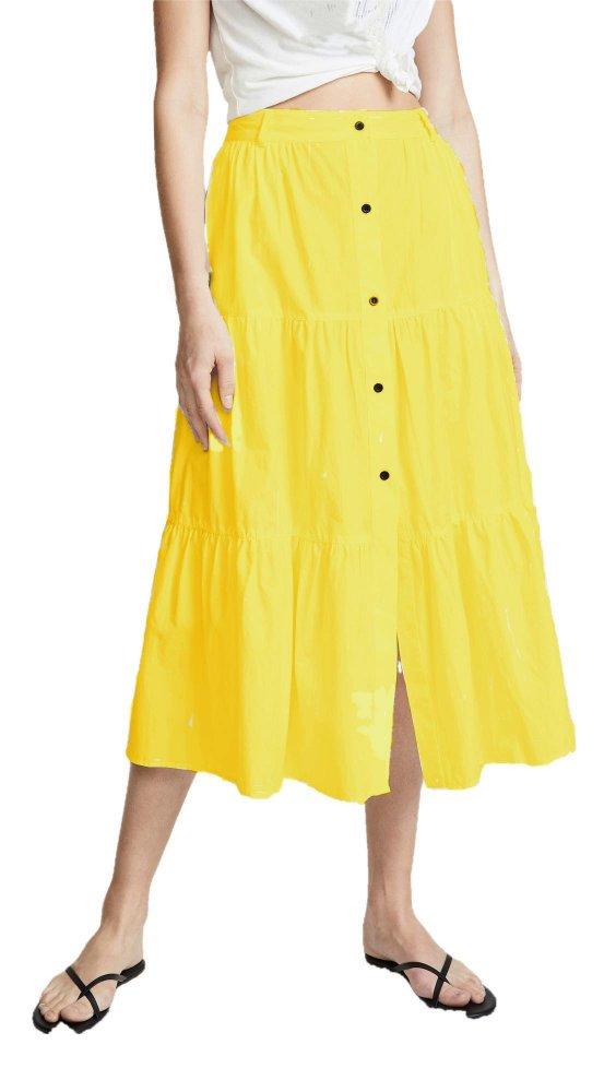 Below Knee Pleated Skirt in Mustard
