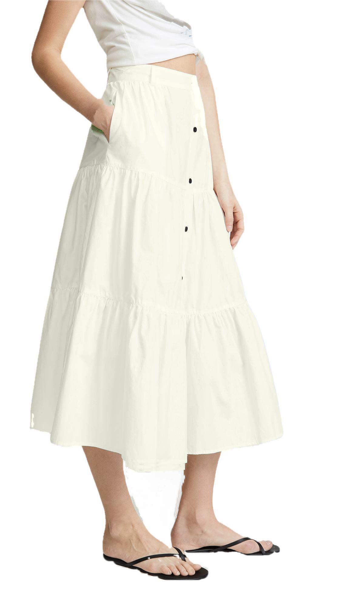 Below Knee Pleated Skirt in Off-White