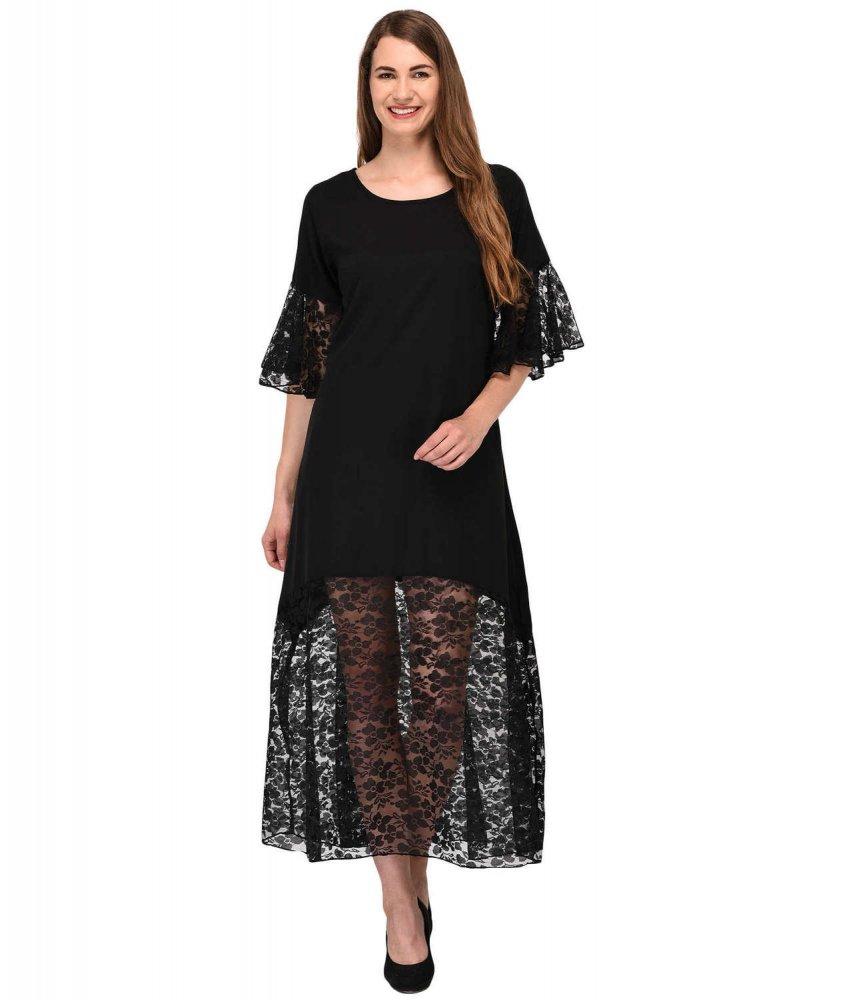 Bodycon Lace Trimmed Midi Dress in Black