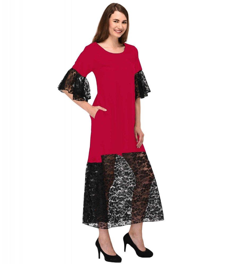 Bodycon Lace Trimmed Midi Dress in Fuchsia:Black