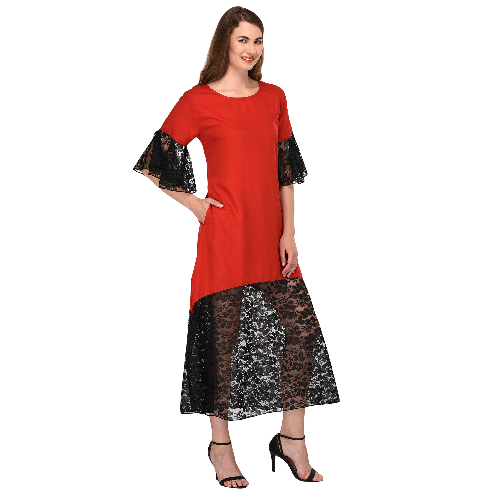 Bodycon Lace Trimmed Midi Dress in Red:Black