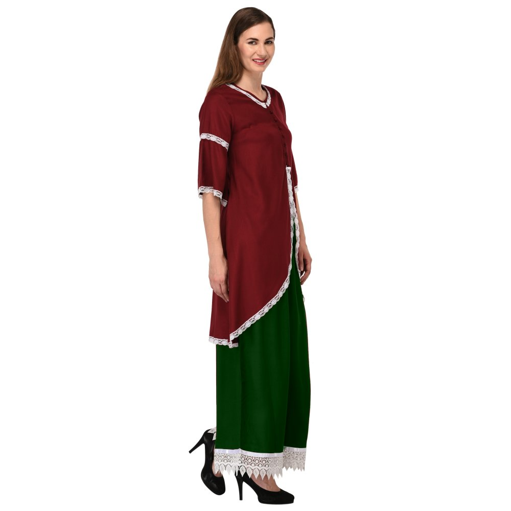 Bustier Top and Embellished Palazzo Set Dress in Maroon:Bottle Green