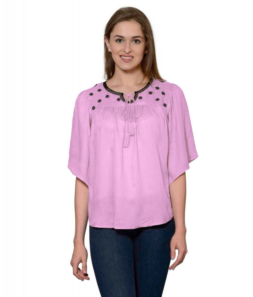 Butterfly Sleeve Empire Top in Baby Pink