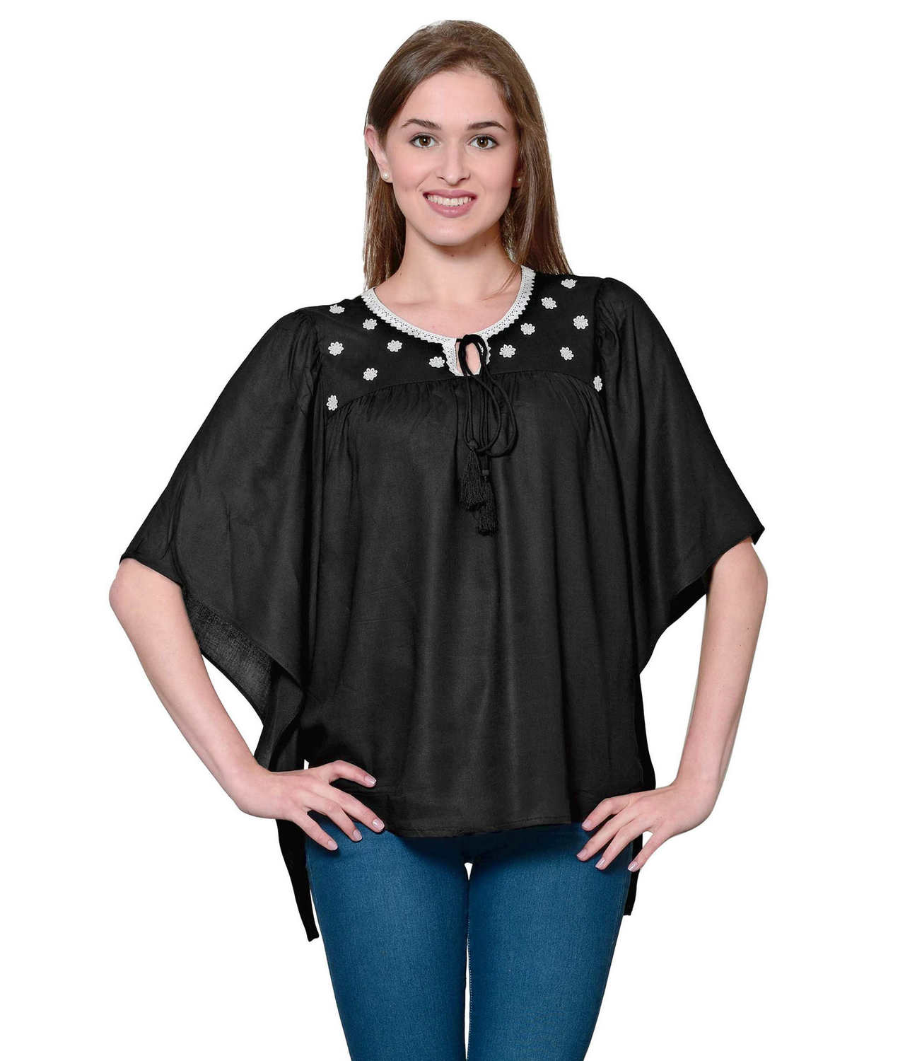 Butterfly Sleeve Empire Top in Black