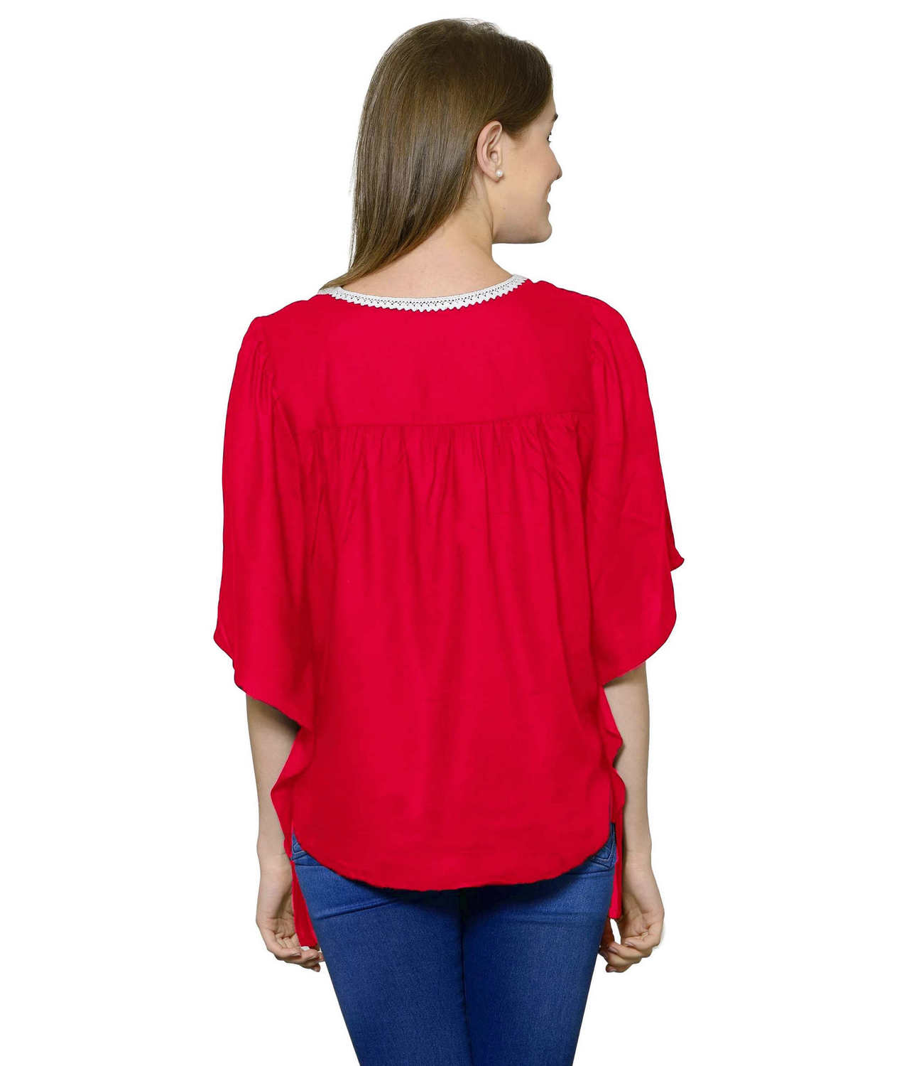 Butterfly Sleeve Empire Top in Fuchsia