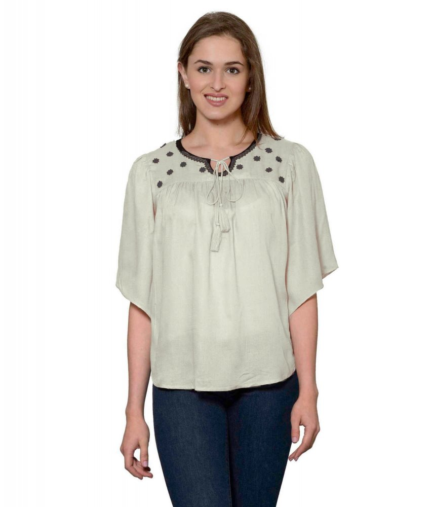 Butterfly Sleeve Empire Top in Off-White