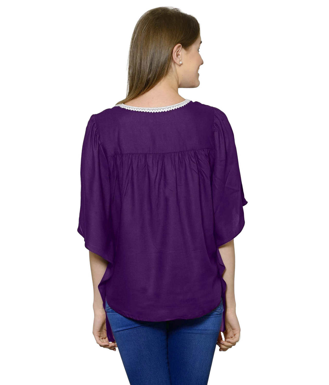 Butterfly Sleeve Empire Top in Purple