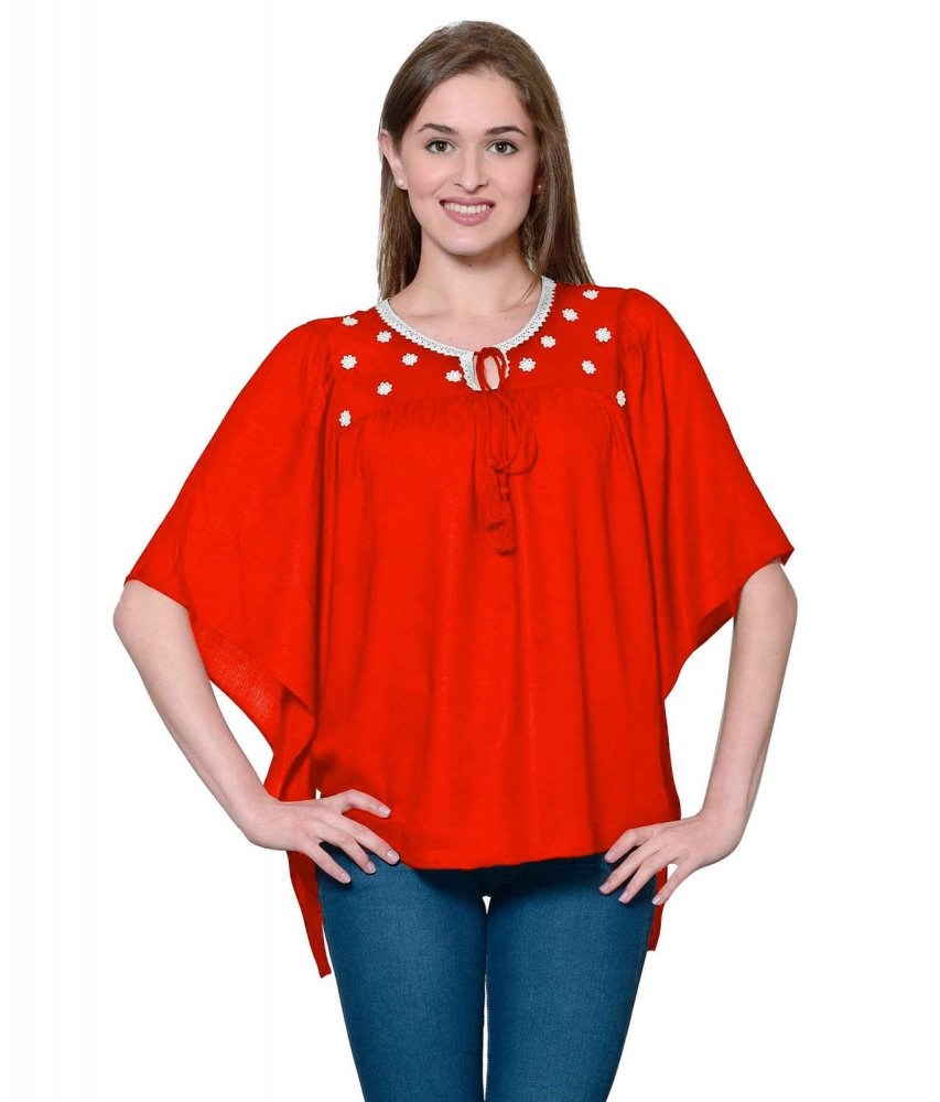 Butterfly Sleeve Empire Top in Red