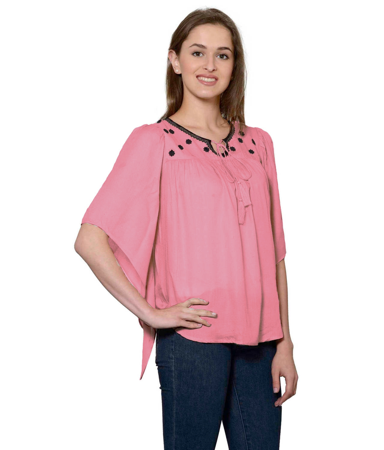 Butterfly Sleeve Empire Top in Vinyl Pink