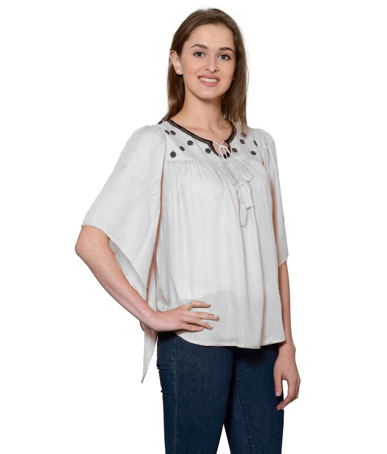 Butterfly Sleeve Empire Top in White