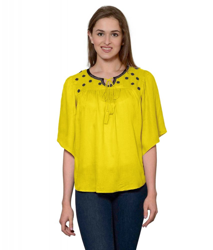 Butterfly Sleeve Empire Top in Yellow
