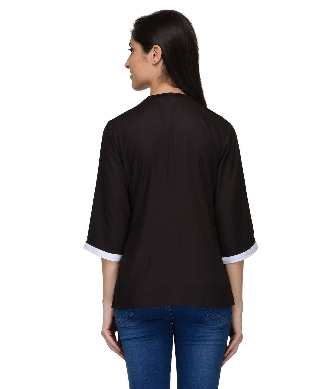 Button Down Collar Shirt in Black