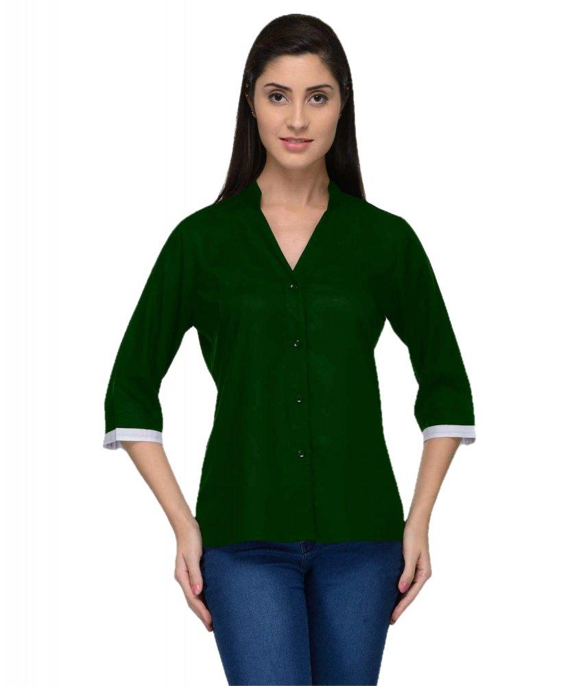 Button Down Collar Shirt in Bottle Green