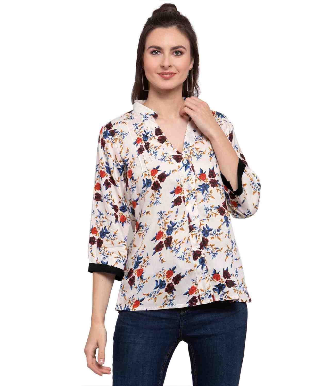 Button Down Collar Shirt in Cream Maroon Print