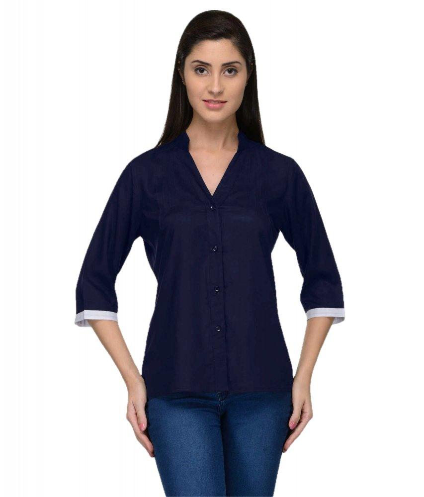 Button Down Collar Shirt in Dark Blue