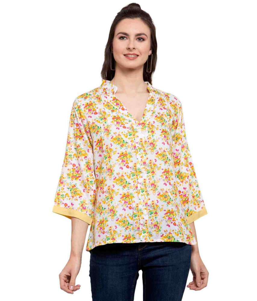 Button Down Collar Shirt in Yellow Floral Print
