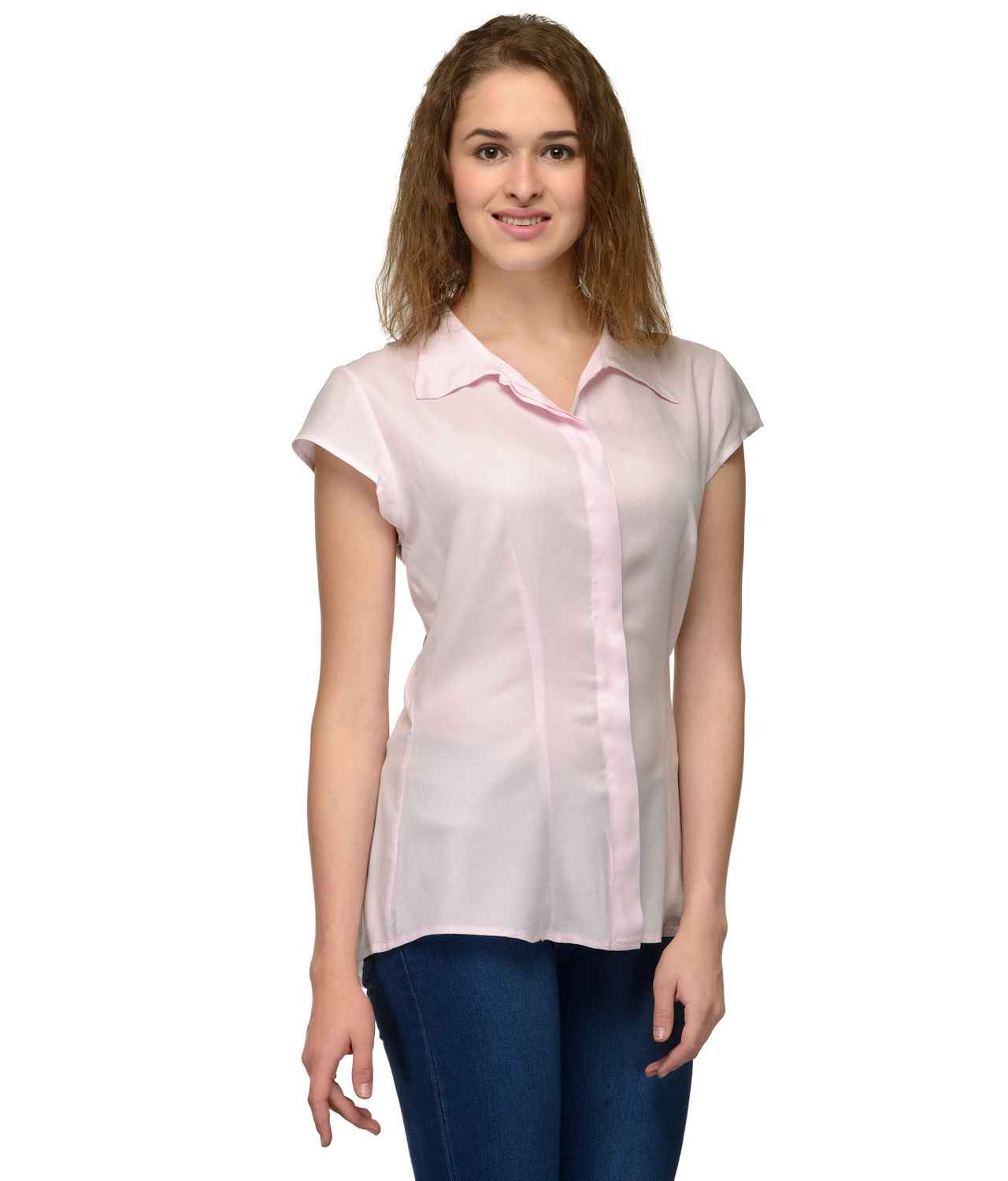 Cap Sleeve Classic Shirt in Baby Pink